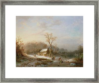 Skating Scene Framed Print by Henri Cleenewerck