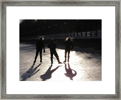 Skating The Canal Framed Print by Richard Mitchell