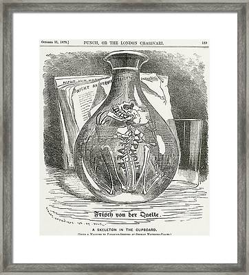 Skeleton In Bottle Of Water 19th Century Depiction Of Typhoid Framed Print by English School