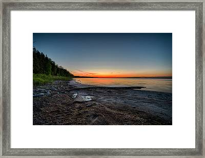 Framed Print featuring the photograph Skeleton Lake Beach At Sunset by Darcy Michaelchuk