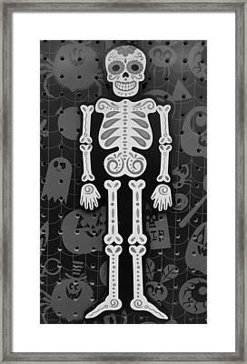Skeleton Muertos B W  Framed Print by Rob Hans