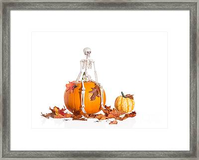 Skeleton Sitting On Pumpkin Framed Print