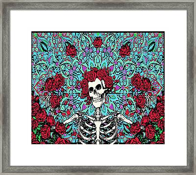skeleton With Roses Framed Print