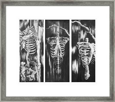 Skeletons In Black Framed Print by Nathan Bishop