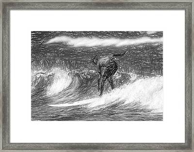 Sketch A Wave Framed Print
