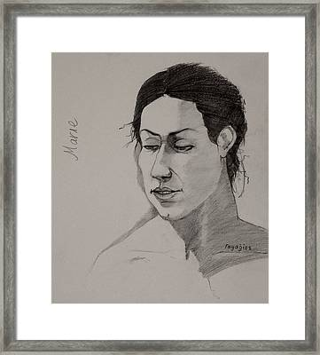 Sketch For Marie 2 Framed Print by Ray Agius