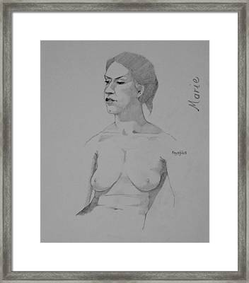 Framed Print featuring the drawing Sketch For Marie Seated by Ray Agius