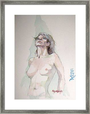 Framed Print featuring the painting Sketch For Megan Iv by Ray Agius