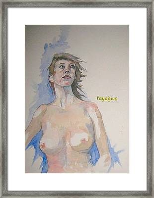 Framed Print featuring the painting Sketch For Megan V by Ray Agius