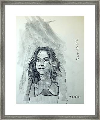 Framed Print featuring the painting Sketch For Sera.10.01 by Ray Agius