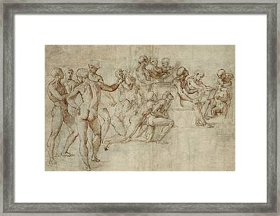 Sketch For The Lower Left Section Of The Disputa Framed Print by Raphael