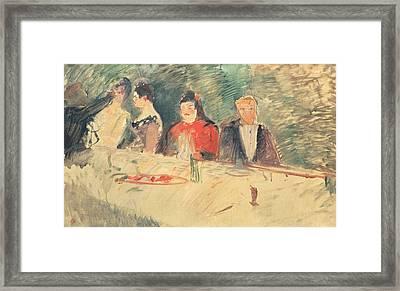 Sketch For The Supper Framed Print by Henri De Toulouse-Lautrec