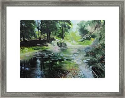 Sketch Of A Pond At Port Meirion Framed Print