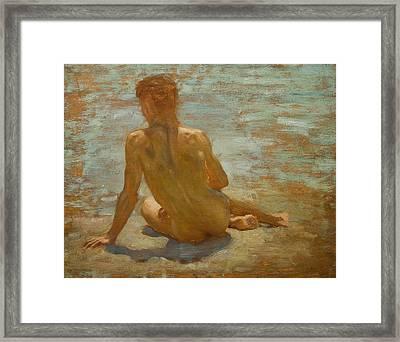 Sketch Of Nude Youth Study For Morning Spelendour Framed Print by Henry Scott Tuke