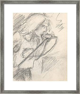 Sketch Of Robert Plant Framed Print by T Ezell