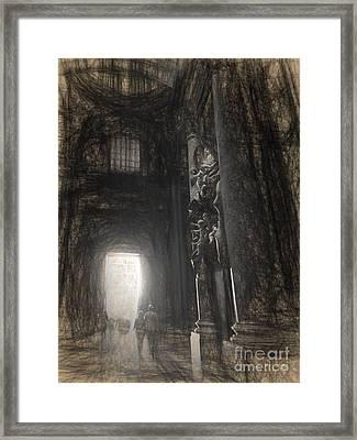 sketch of St Peter's Basilica interior Framed Print