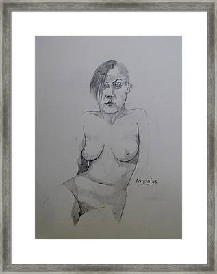 Framed Print featuring the drawing Sketch Reclining Cassie by Ray Agius