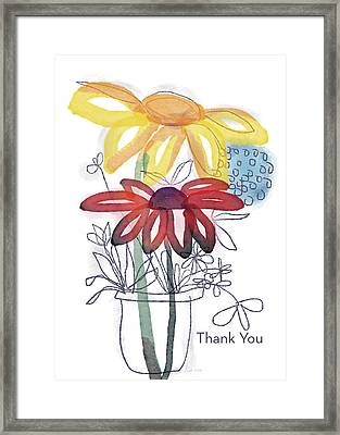 Sketchbook Flowers Thank You- Art By Linda Woods Framed Print