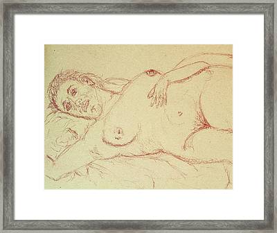 Nude Laying In Red Framed Print by Rand Swift