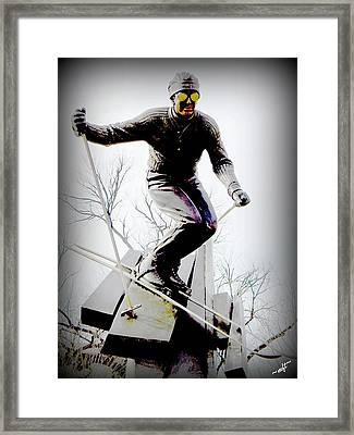 Ski On The Edge Framed Print