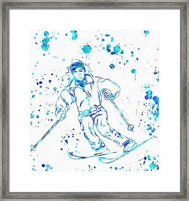 Ski Paint Splatter Framed Print