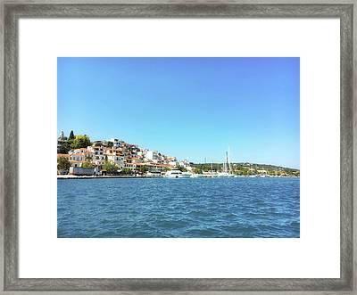 Skiathos Harbour View Framed Print by Tom Gowanlock