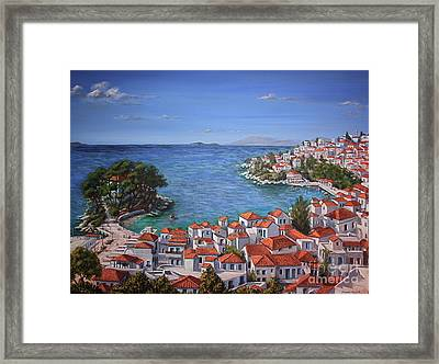 Skiathos Harbour Framed Print by Yvonne Ayoub