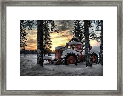 Skidder Sunrise Framed Print by Heather  Rivet