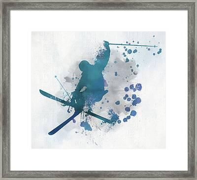 Skier Paint Splatter Framed Print