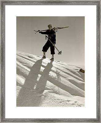 Skier Framed Print by Unknown