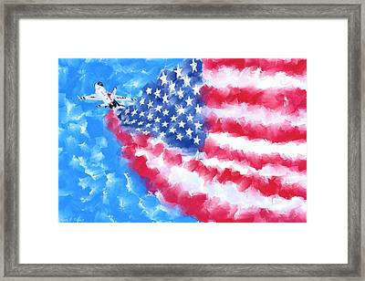 Framed Print featuring the mixed media Skies Over America by Mark Tisdale