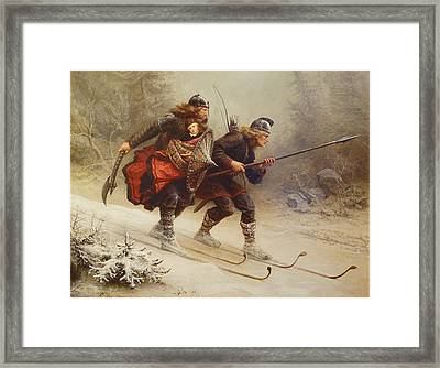 Skiing Birchlegs Crossing The Mountain With The Royal Child Framed Print