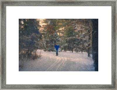 Skiing Borderland In Afternoon Light Framed Print