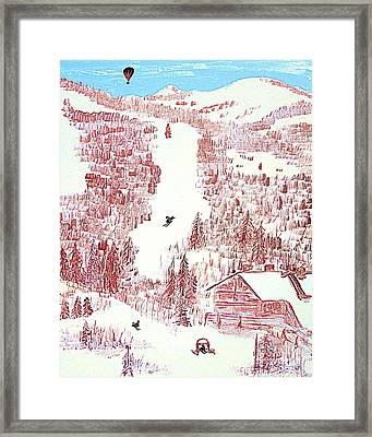 Skiing Deer Valley Utah Framed Print by Richard W Linford