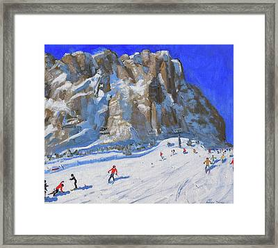 Skiing Down The Mountain,selva Gardena Framed Print by Andrew Macara