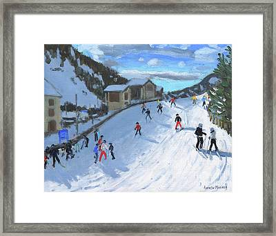 Skiing Down To Selva Val Gardena Framed Print by Andrew Macara