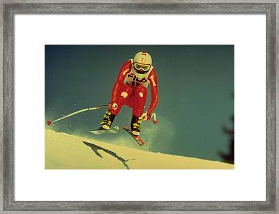 Skiing In Crans Montana Framed Print