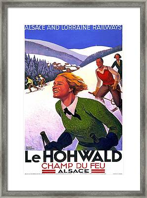 Skiing In Le Hohwald, Alsace - France - Vintage Travel Poster Framed Print