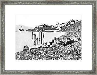 Skiing In The Grisons Framed Print