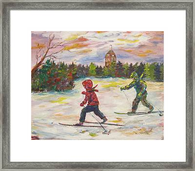 Skiing In The Park Framed Print by Naomi Gerrard