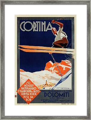 Skiing On The Alps In Cortina - Ice Hockey Tournament - Vintage Advertising Poster Framed Print