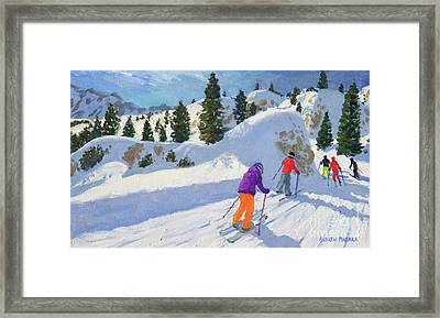 Skiing, Rock City, Selva Gardena, Italy Framed Print by Andrew Macara