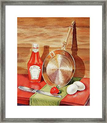 Skillet Eggs And Heinz Ketchup Watercolor  Framed Print