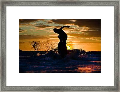 Skimboard On Eclipse Sunset  Framed Print