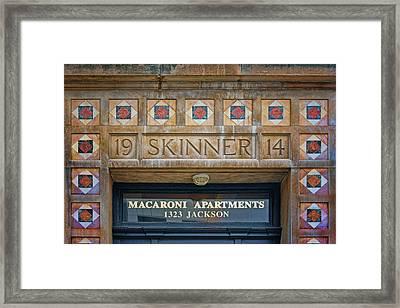 Skinner - Macaroni Apartments - Omaha Framed Print by Nikolyn McDonald