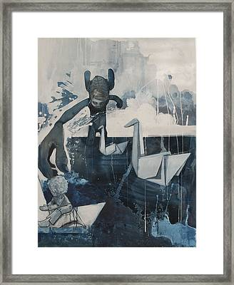 Skinney Malinky And The Paperswans Framed Print by Konrad Geel