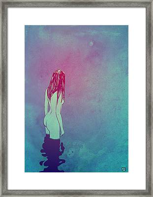 Framed Print featuring the drawing Skinny Dipping by Giuseppe Cristiano