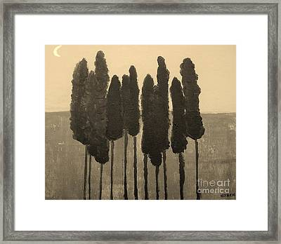 Skinny Trees In Sepia Framed Print by Marsha Heiken