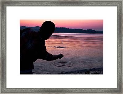 Skipping Stones Framed Print by Justin Albrecht