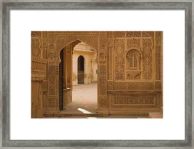 Skn 1317 Threshold Of Carvings Framed Print